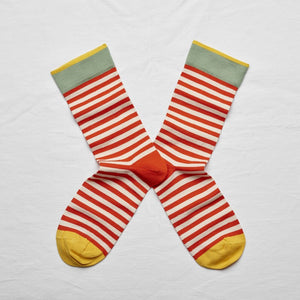 Bonne Maison Socks: Vermillion Stripe