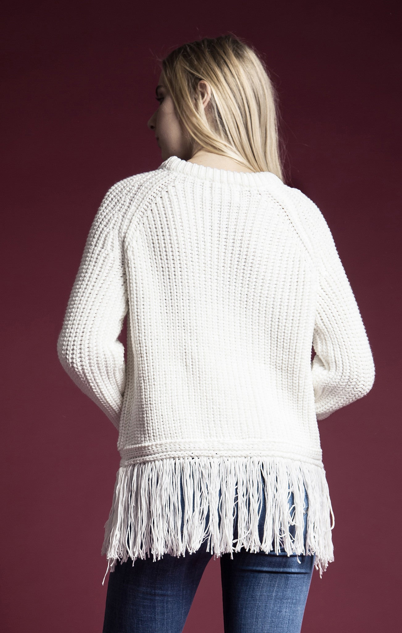 LONG SLEEVE FRINGE SWEATER