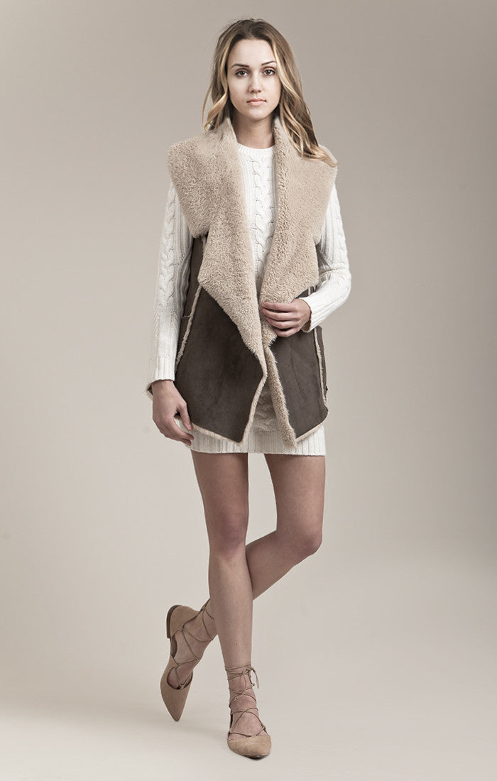 SUEDE SHEARLING VEST