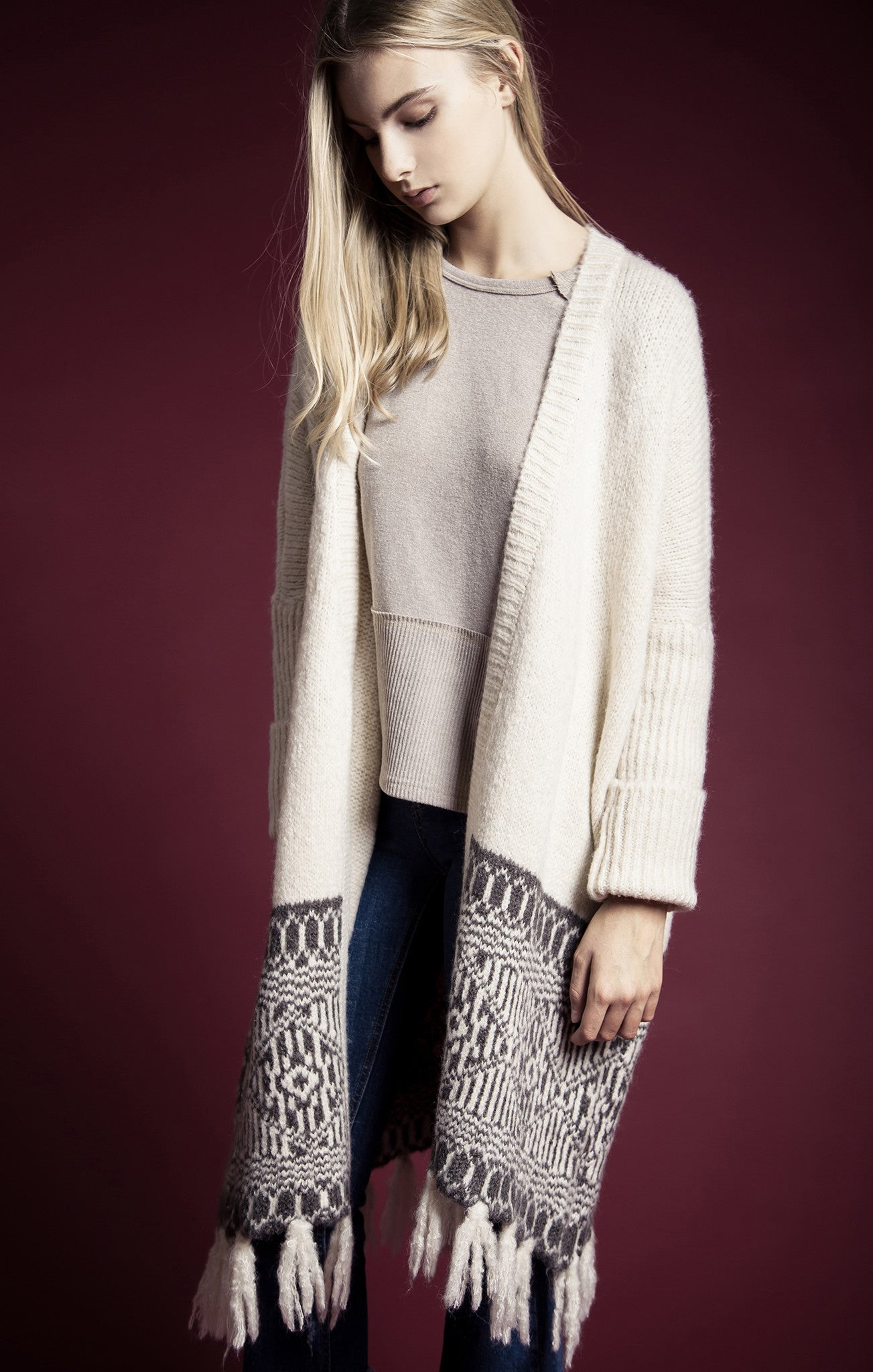 FRAY DETAIL LONG SWEATER