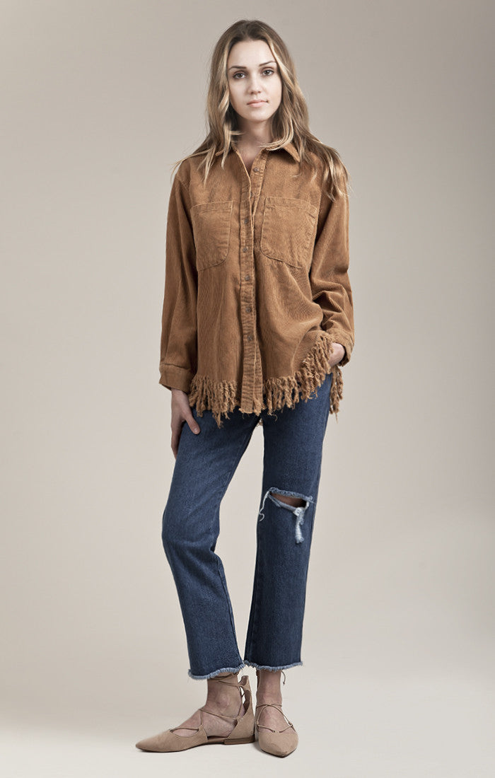 CORDUROY FRAYED BUTTON UP IN BROWN