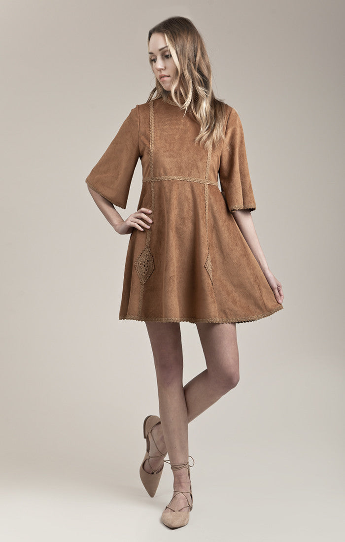 SUEDE MID SLEEVE DRESS WITH TRIM