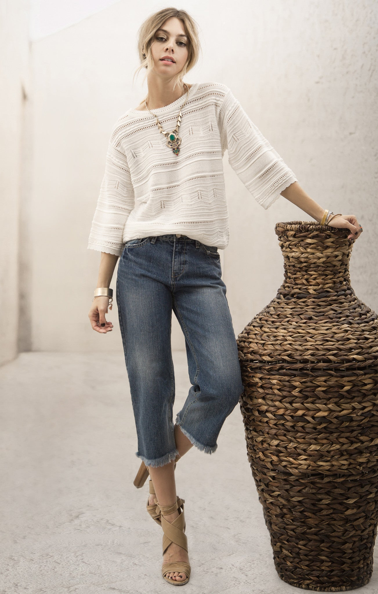 CABLE KNIT SWEATER TOP