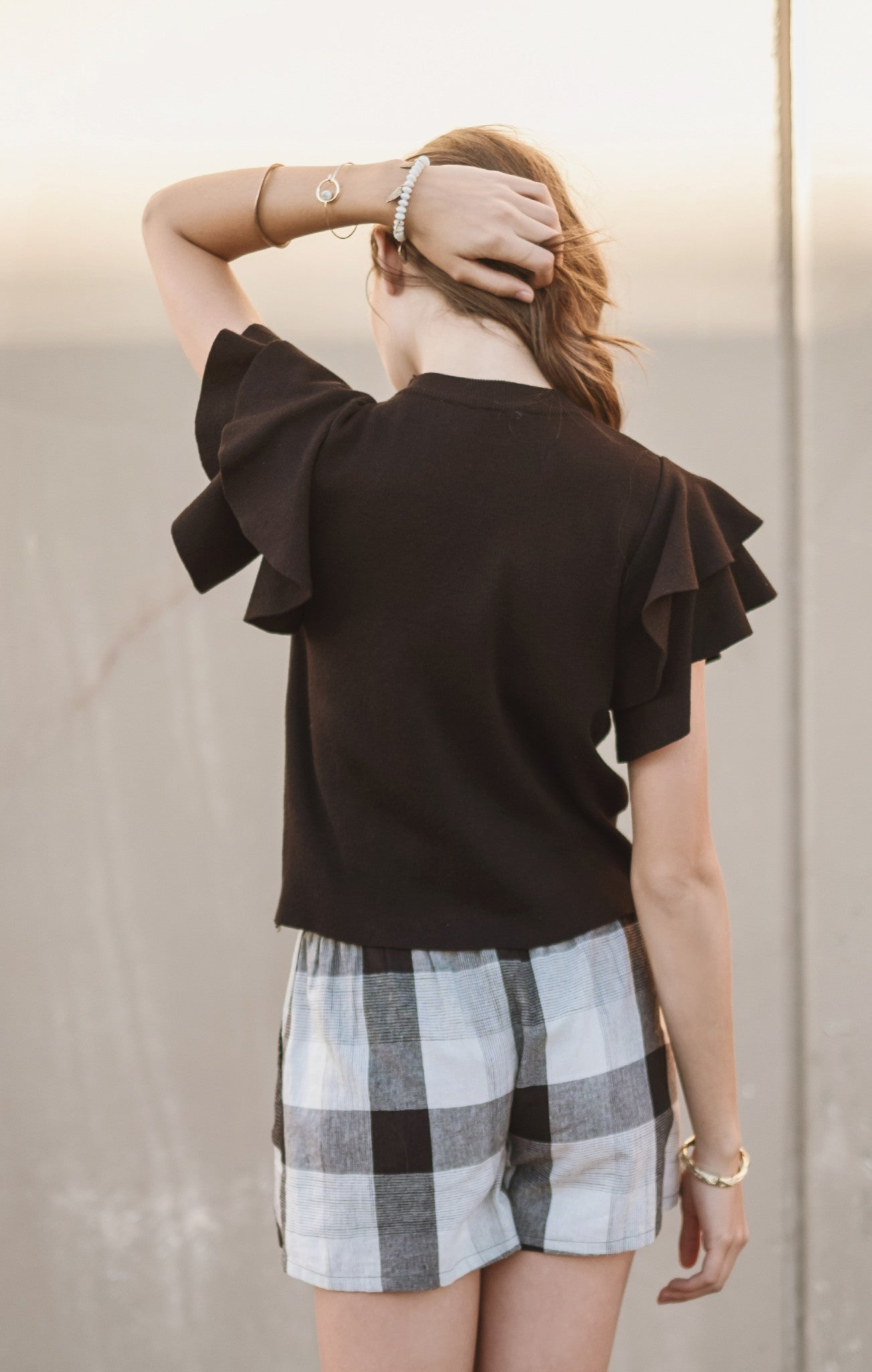 SHIRRED CAP SLEEVE CROP TOP