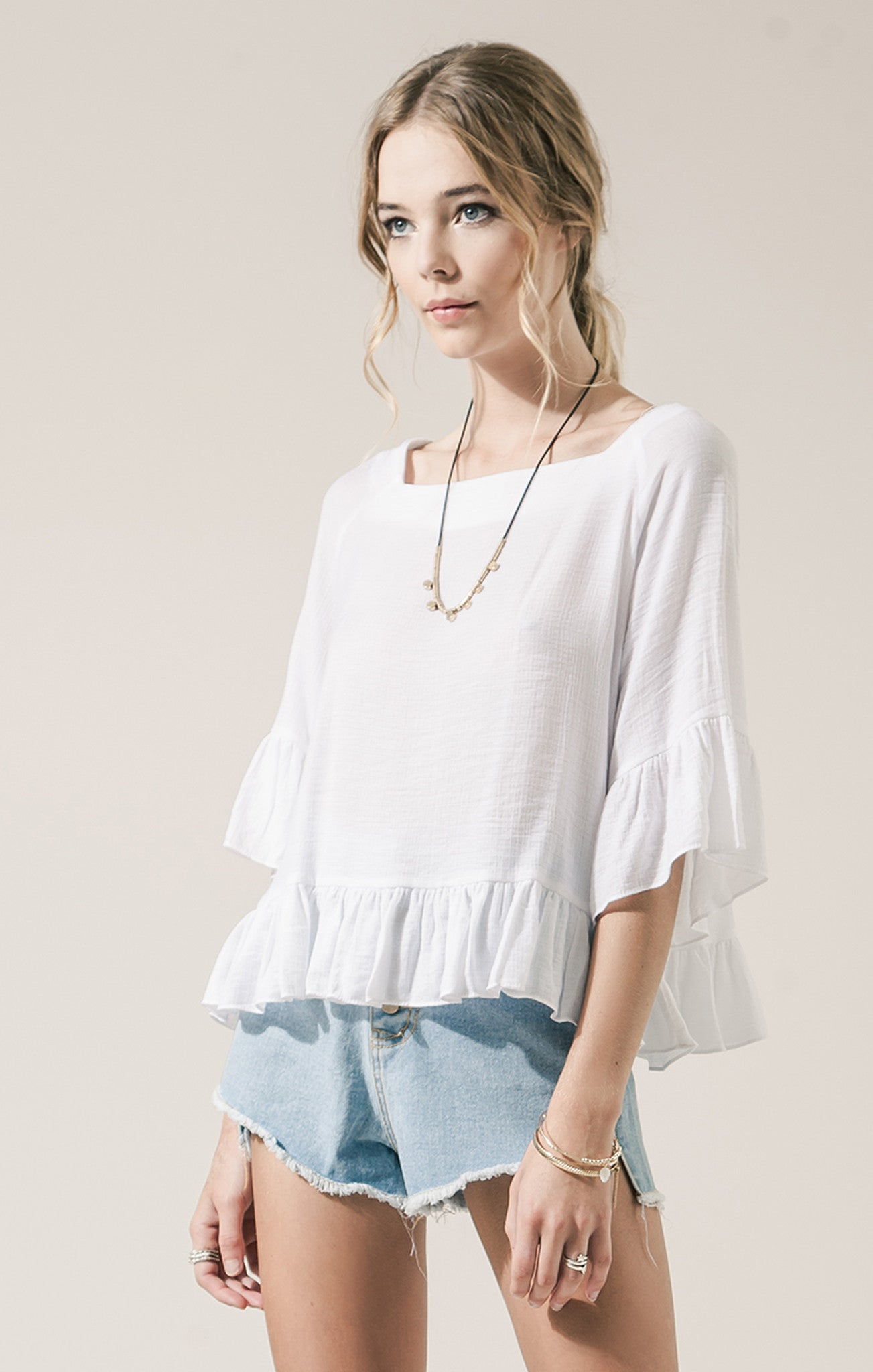 3/4 SLEEVE RUFFLED TOP