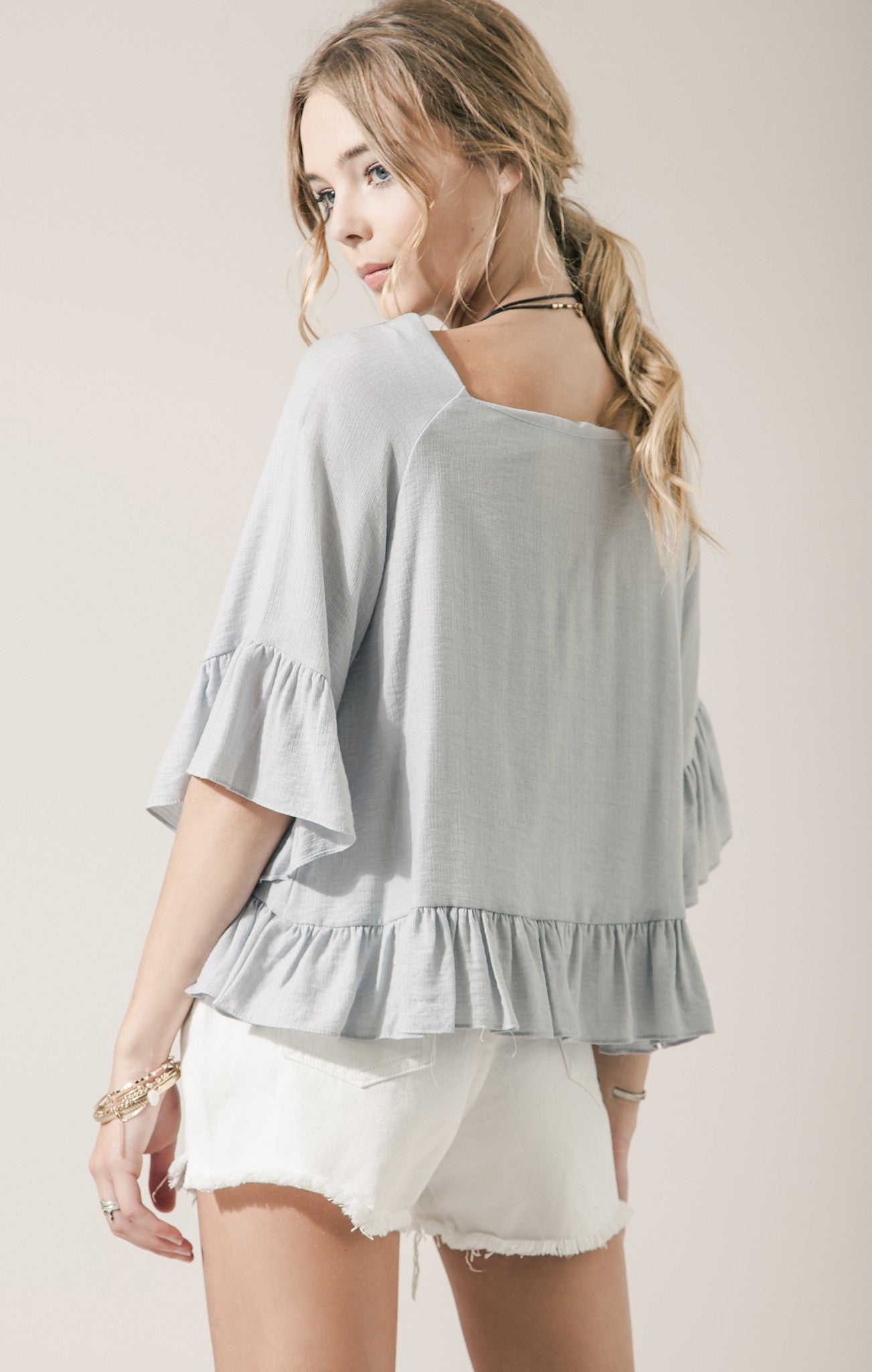 BLUE 3/4 SLEEVE RUFFLED TOP