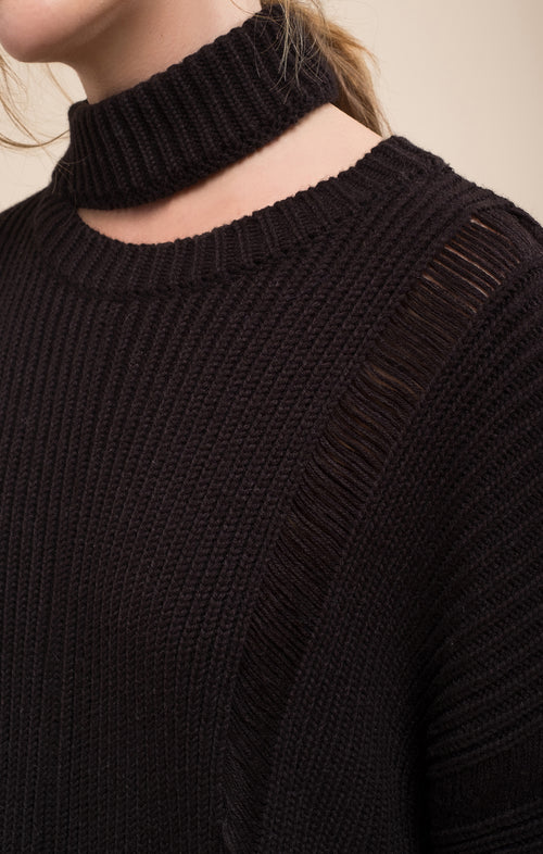 ASYMMETRIC DESTROYED SWEATER