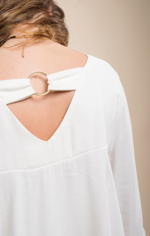 BACK RING DETAIL WOVEN TOP