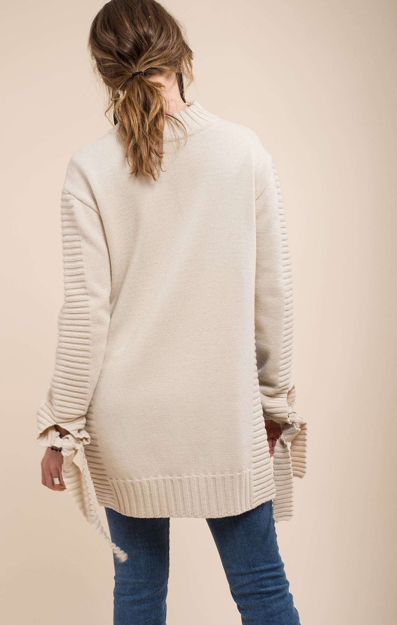 IVORY TWO TONE SIDE SLIT SWEATER