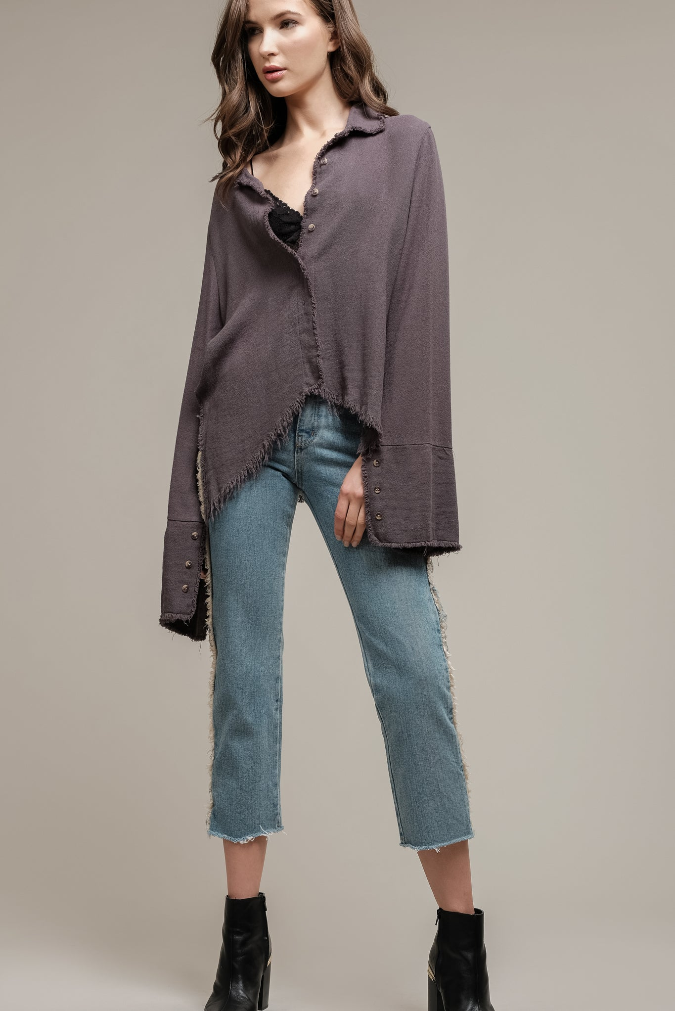 LINEN SHIRT WITH FRAYED HEM