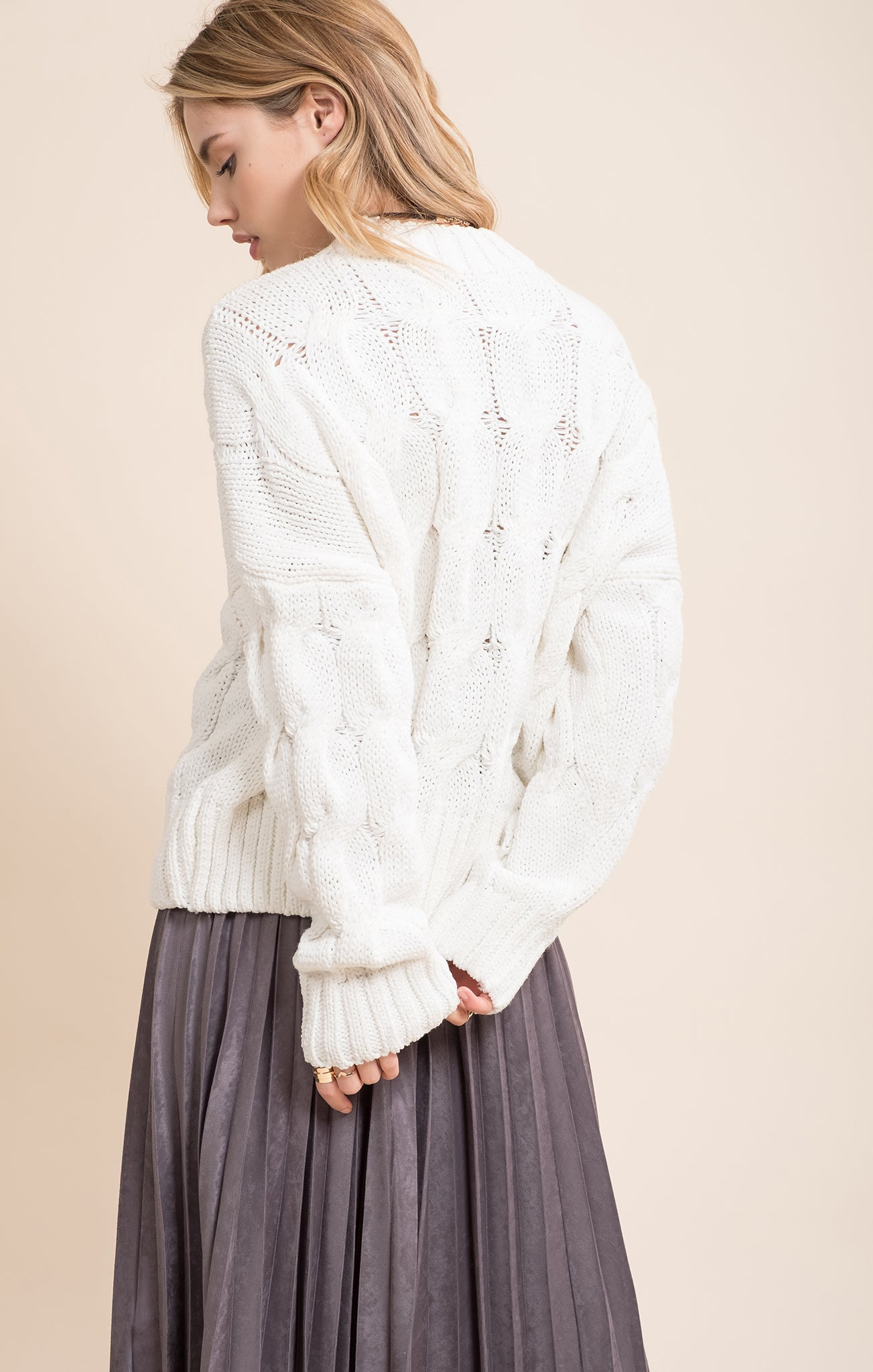 CABLE DETAIL BOXY SWEATER