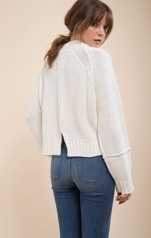 BACK SLIT DETAIL SWEATER TOP