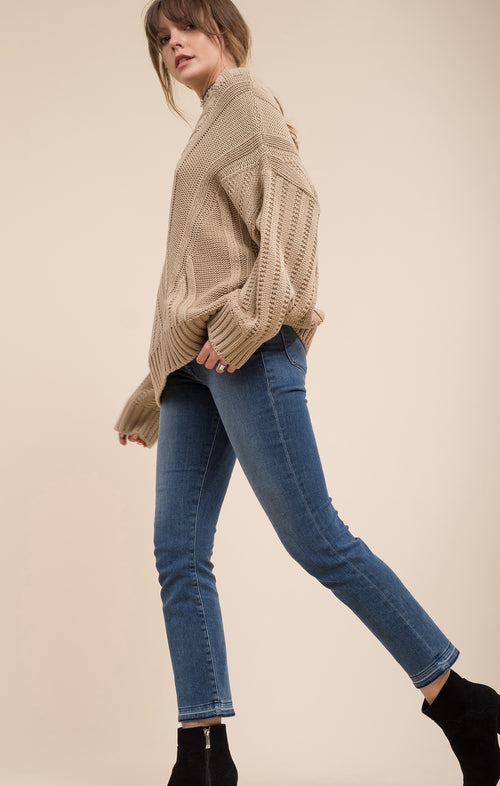 MOCK NECK DROP SHOULDER SWEATER