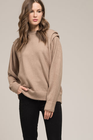 LONG SLEEVE RUFFLED TOP WITH SHOULDER