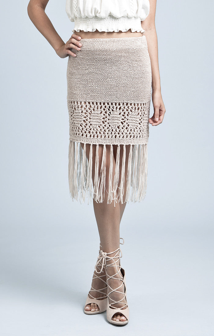 FRINGE CROCHET SWEATER SKIRT