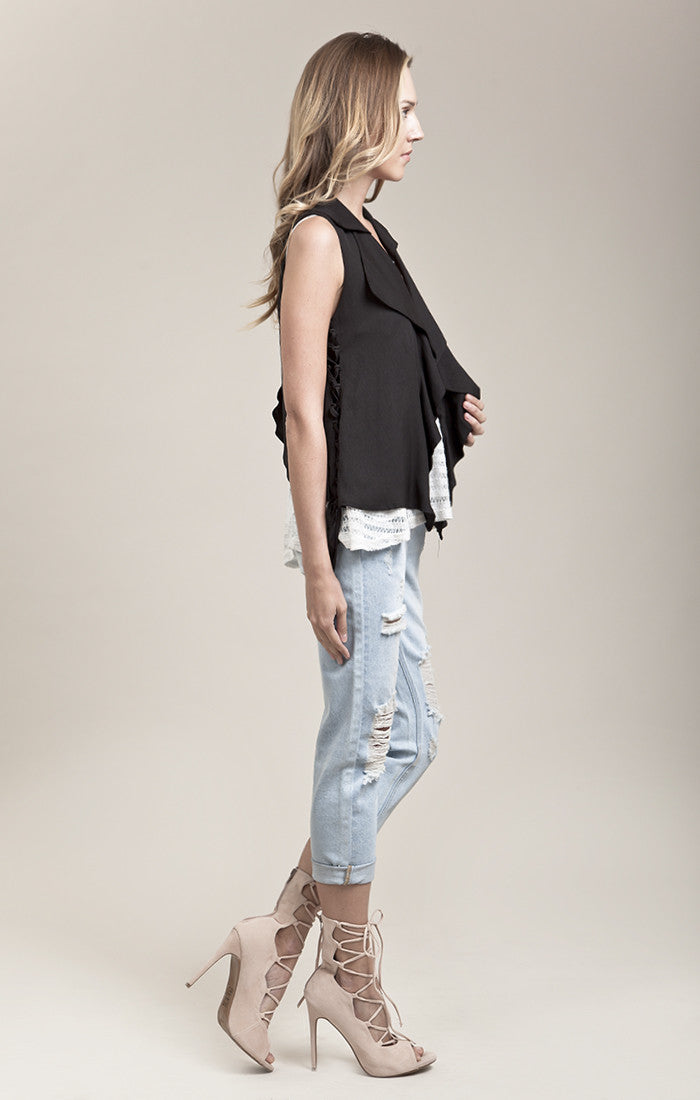 LACE UP DETAIL OPEN BACK VEST