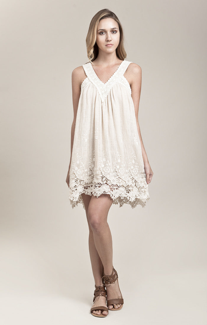 BORDER EMBROIDERY LINEN DRESS