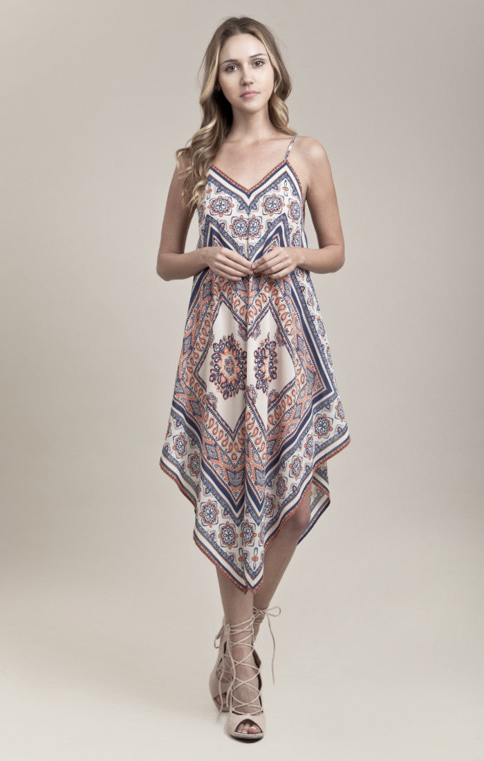 SCARF PRINT HANKERCHIEF DRESS