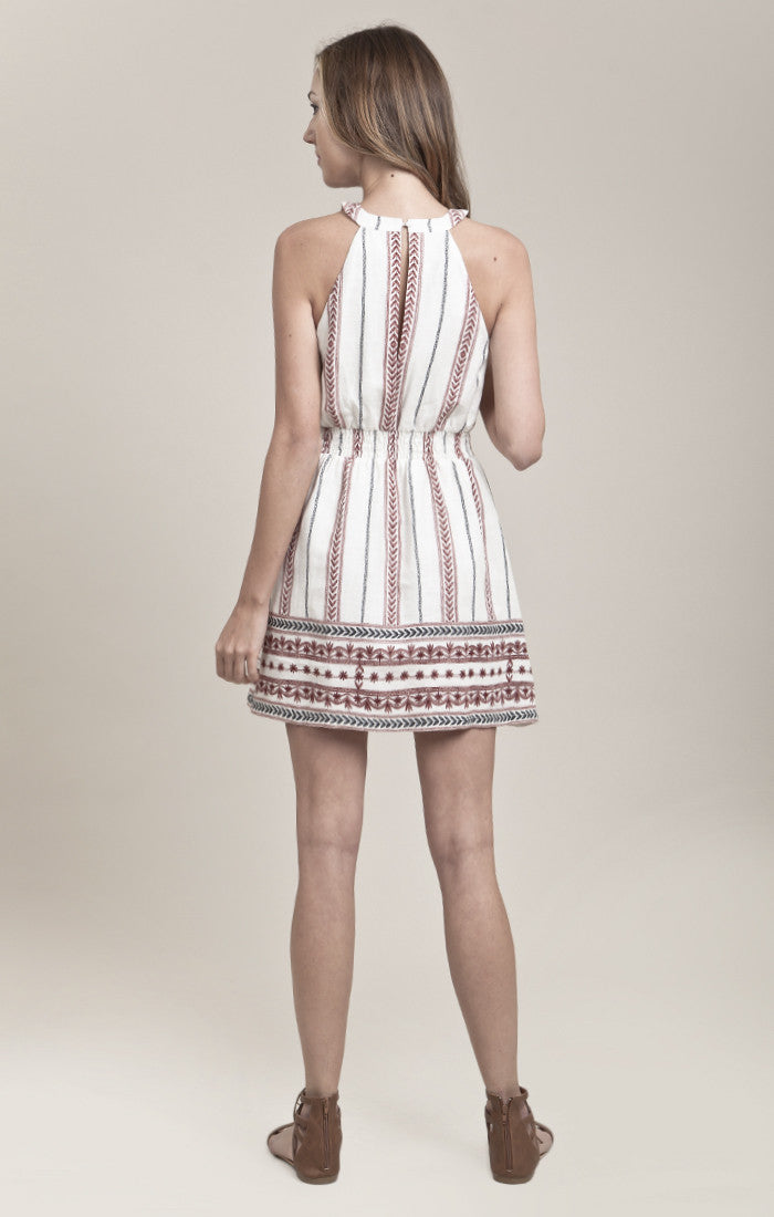 HALTER NECK BORDER PRINTED DRESS