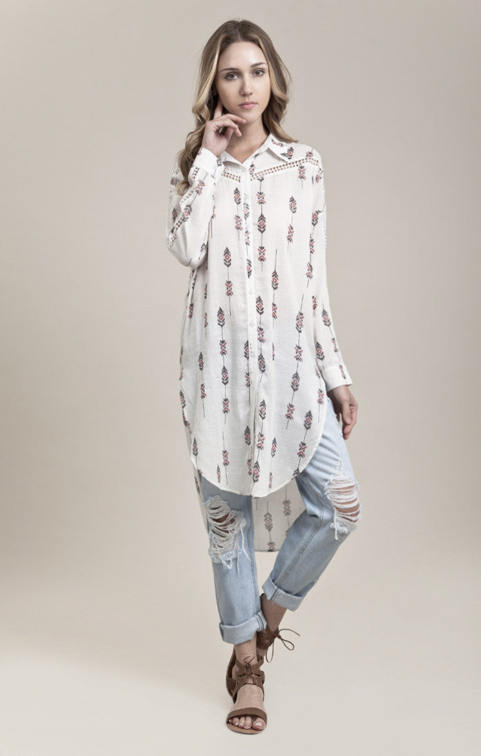LACE-TRIM PRINTED SHIRT