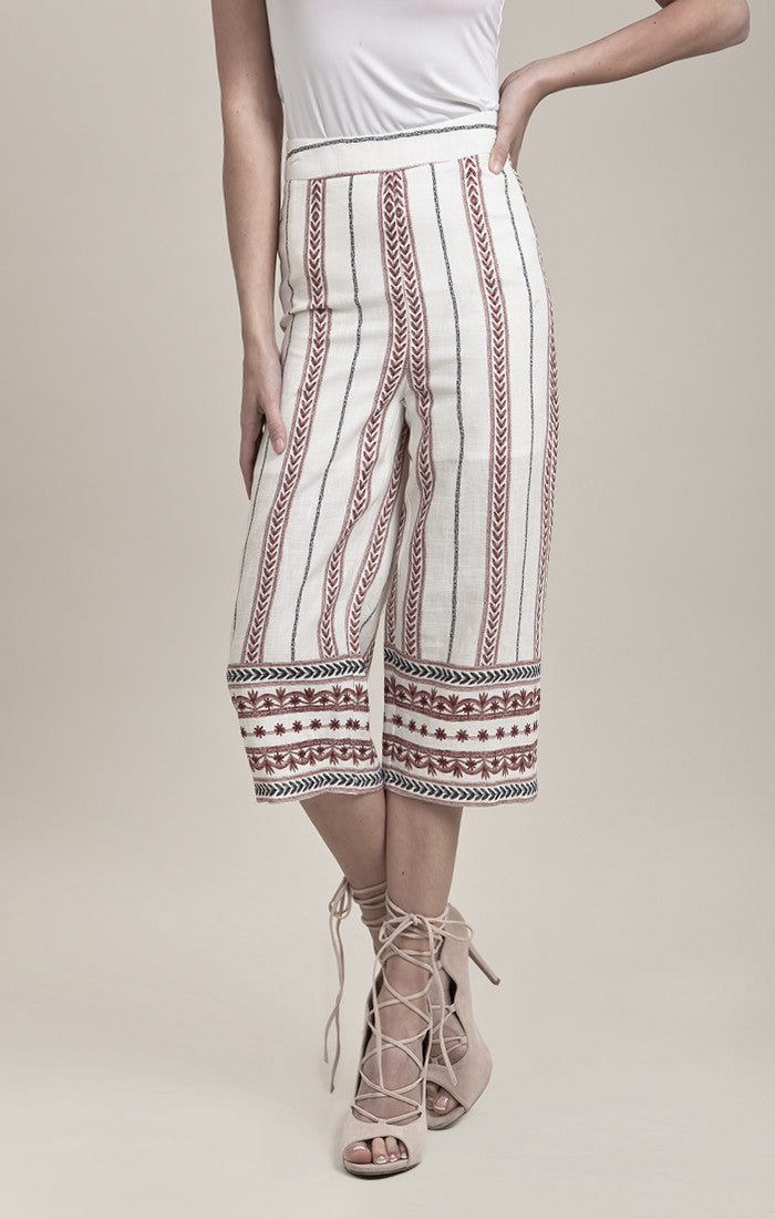 BORDER PRINTED MIDI-LENGTH PANTS