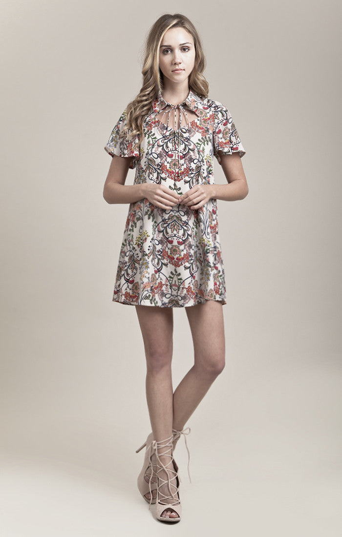 SCARF PRINTED HANKERCHIEF HEM DRESS