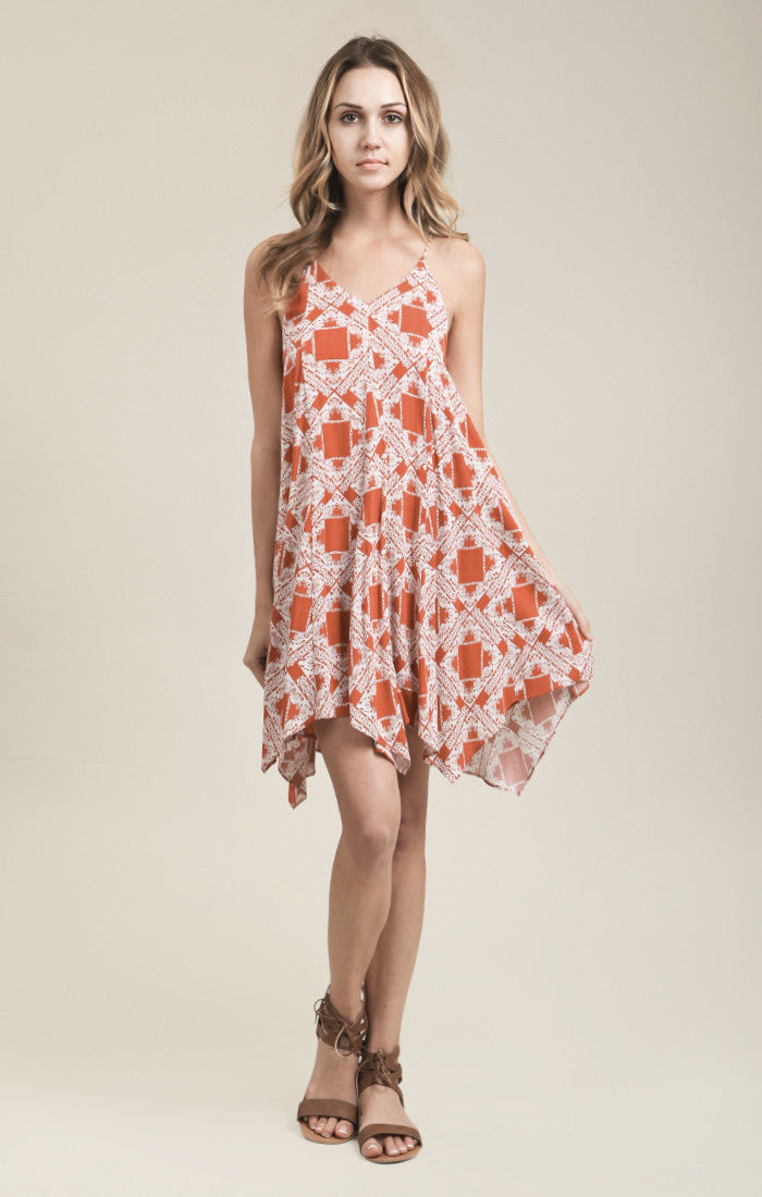 SPAGHETTI STRAP PRINTED DRESS