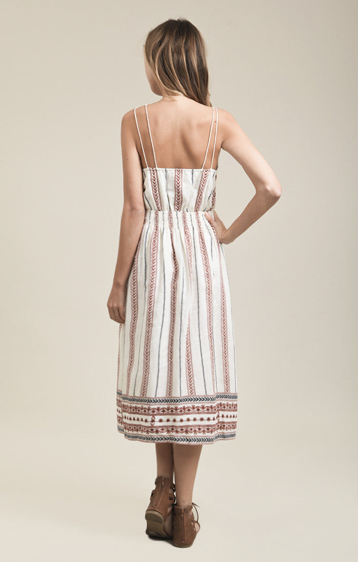 BORDER PRINTED LACE-UP DRESS