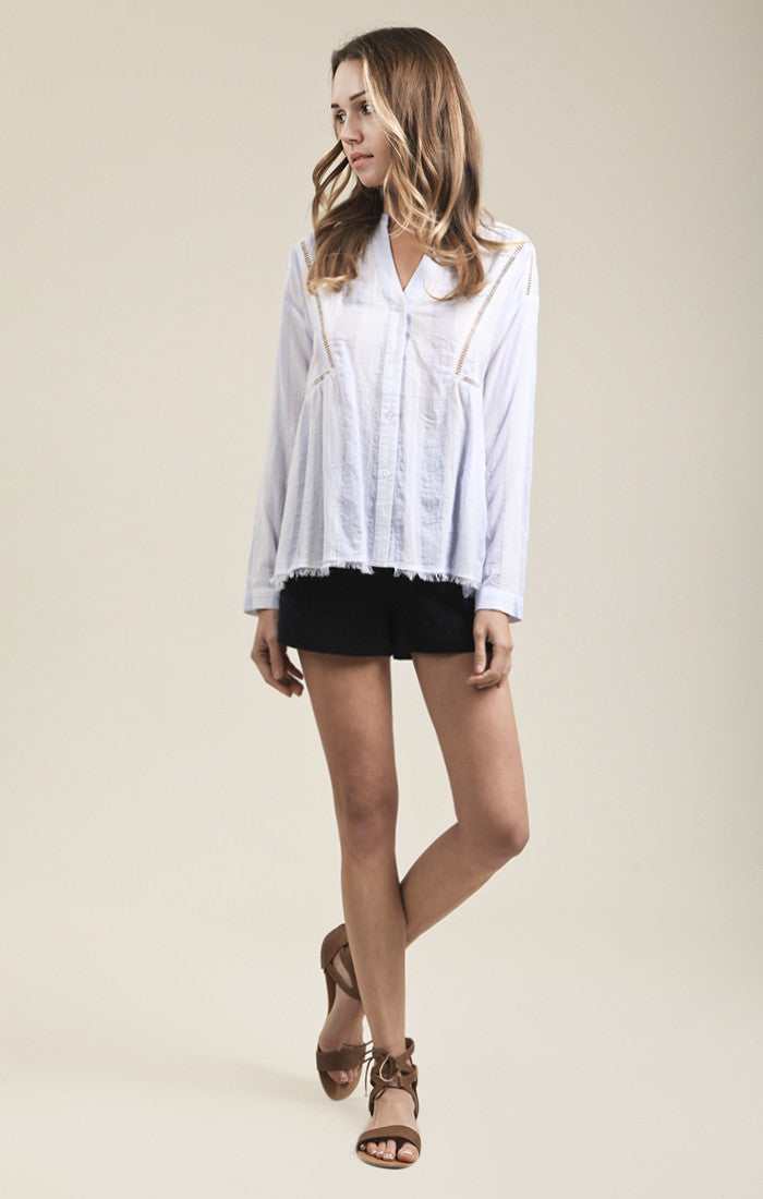 LACE DETAILED STRIPE SHIRT