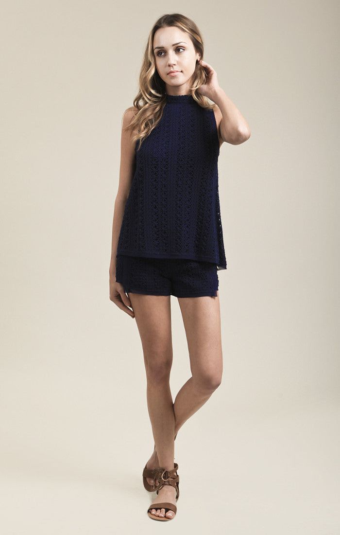CHIFFON TRIMMED OPEN BACK TOP
