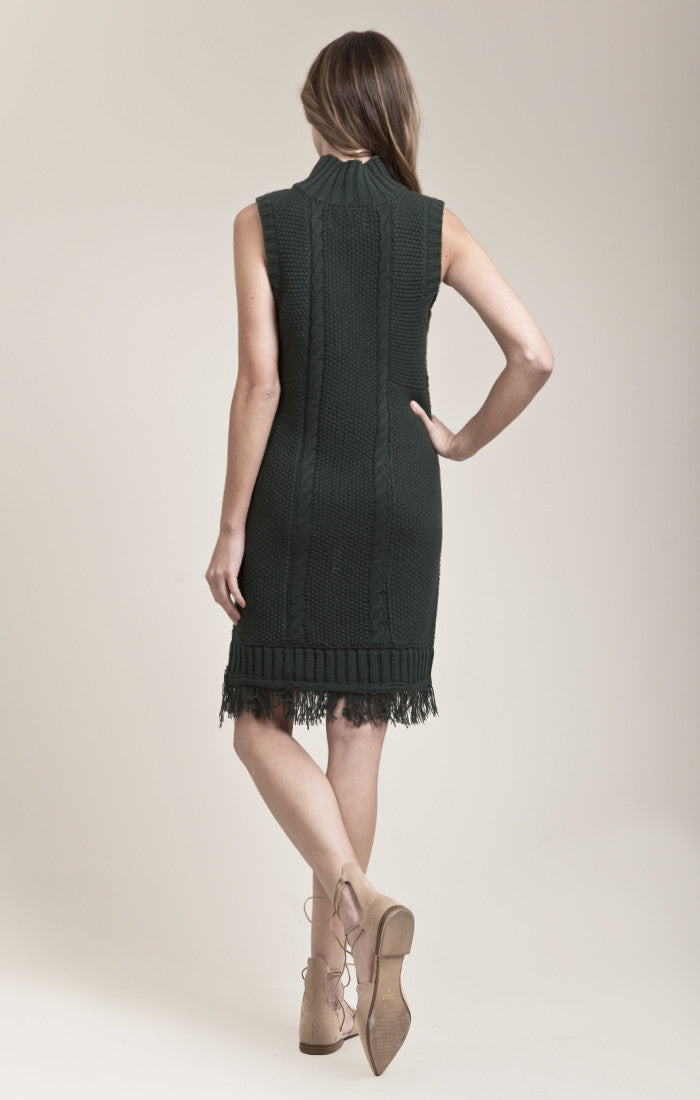 TURTLE NECK SWEATER DRESS WITH GROMMET FRAY