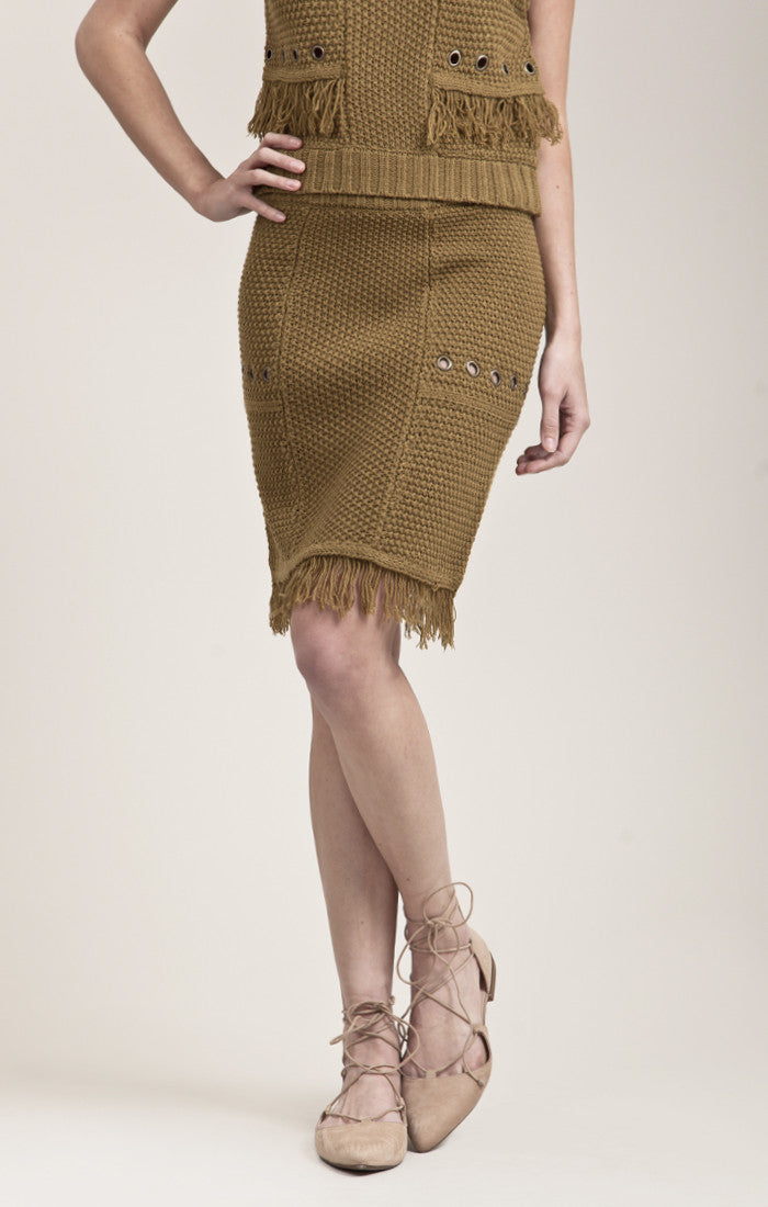 SWEATER SKIRT WITH GROMMET AND FRAY DETAIL