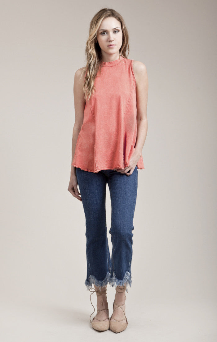 SALTED DYE EFFECT SLEEVELESS TOP