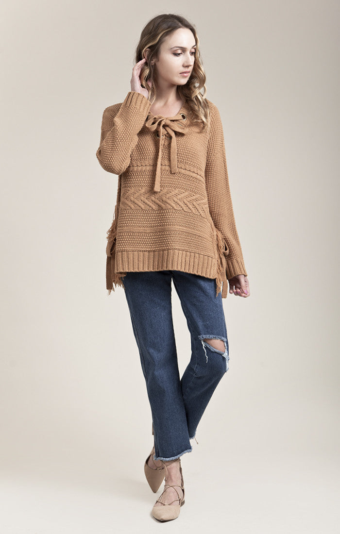 LONG SLEEVE SWEATER WITH SIDE TIE DETAIL