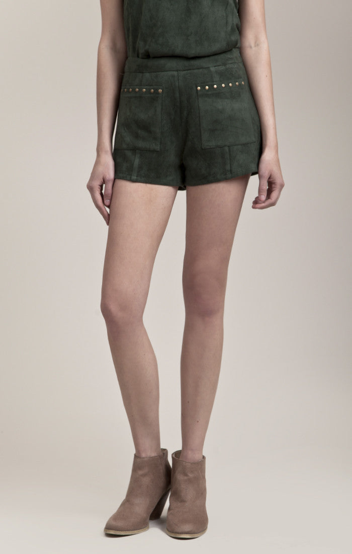 SUEDE SHORTS WITH STUD
