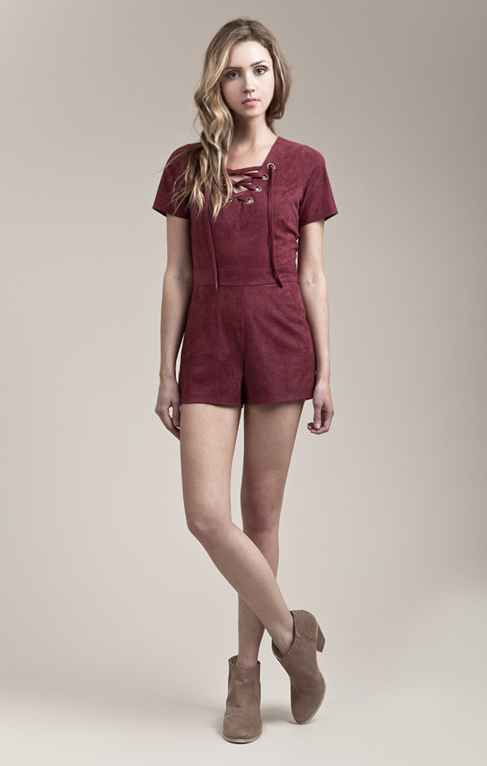 SUEDE LACE UP ROMPER