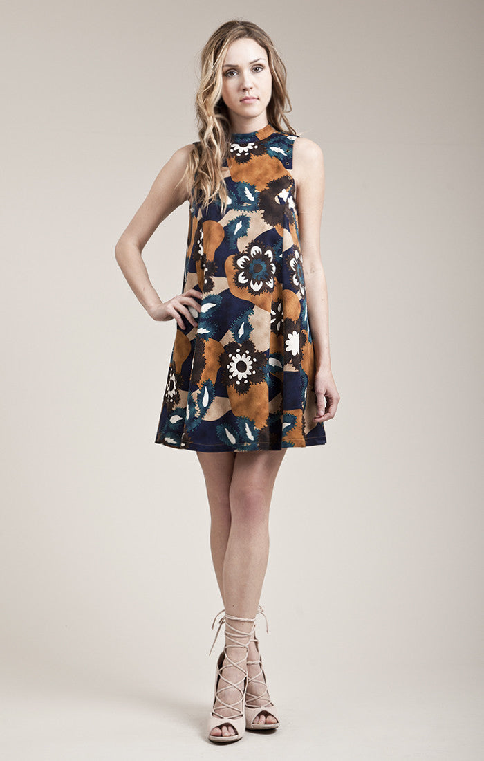MOCK NECK PRINTER SKATER DRESS