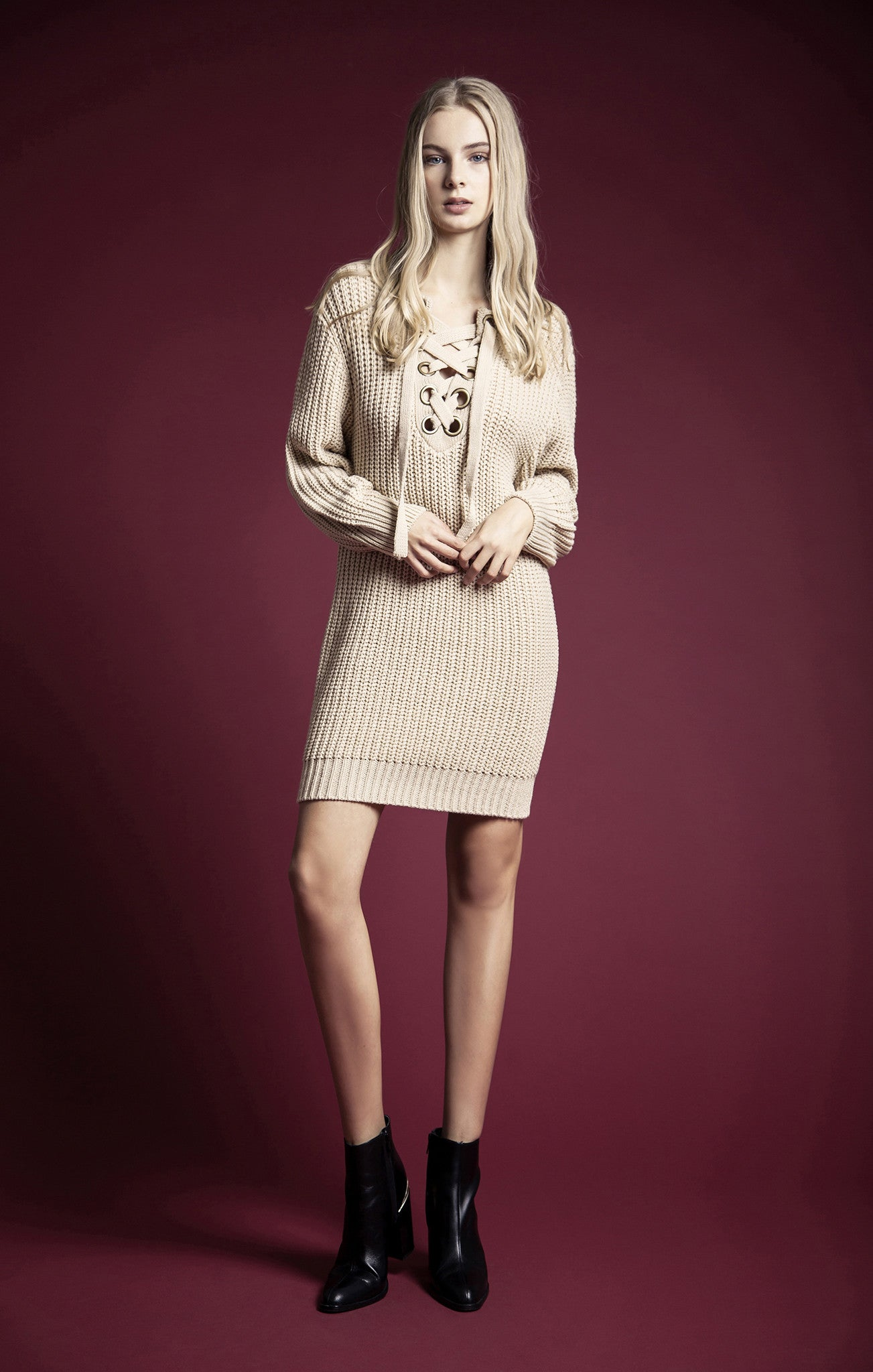 GROMMET SWEATER DRESS