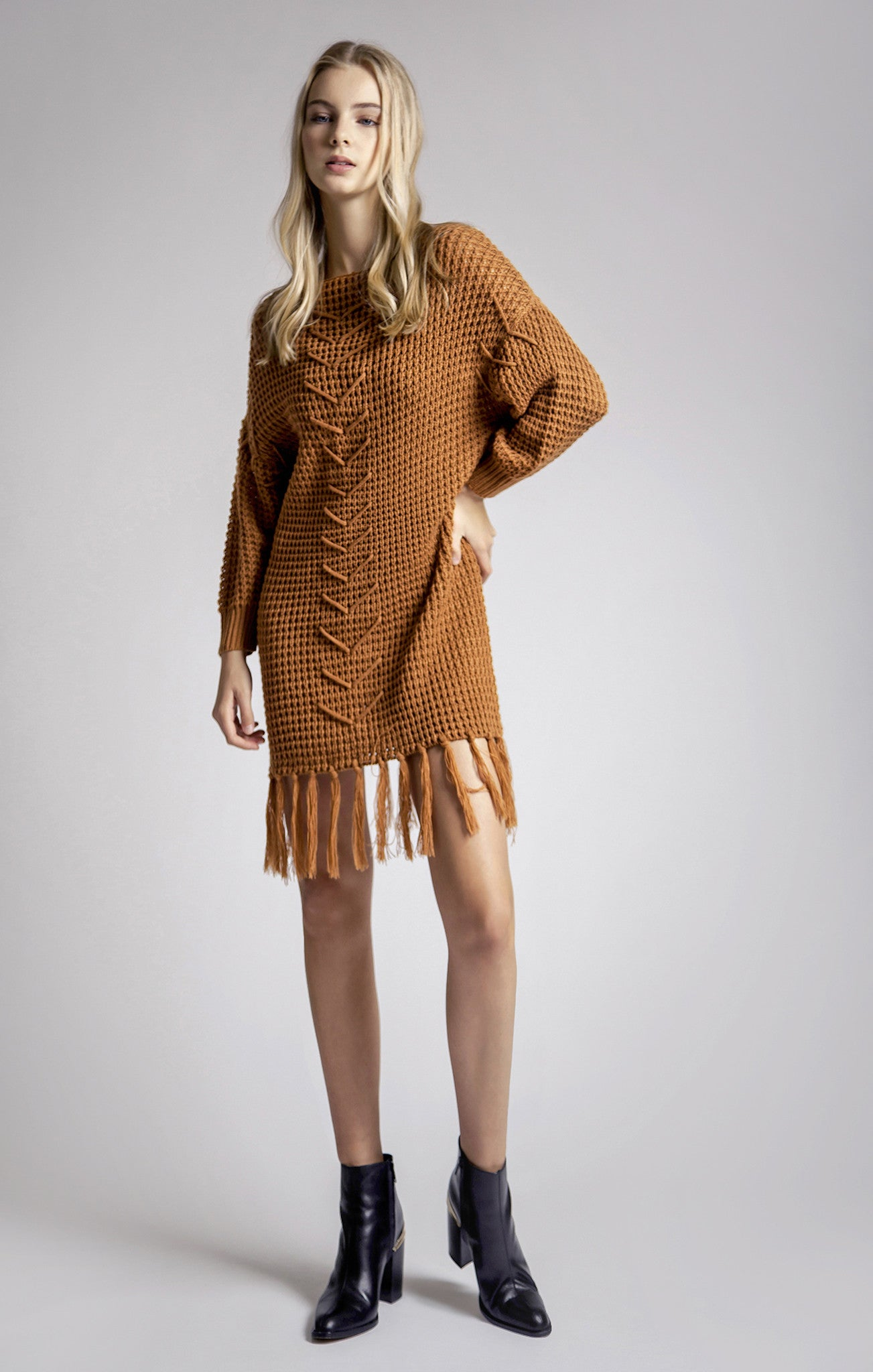 FRAY DETAIL SWEATER DRESS