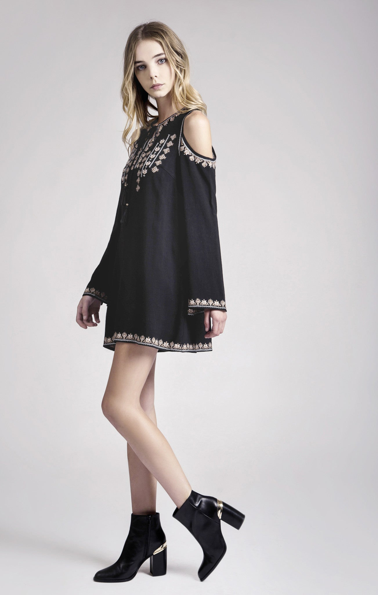 VELVET EMBROIDERY DRESS