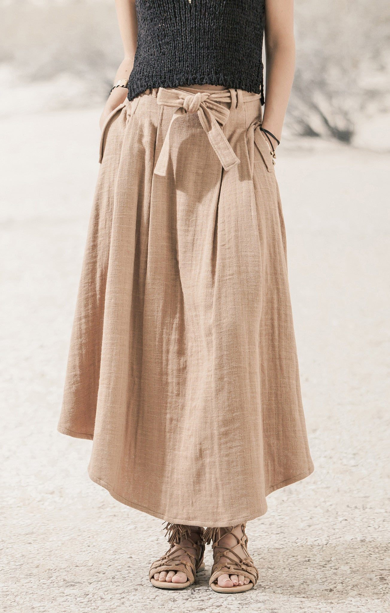 TAN BELTED LINEN SKIRT