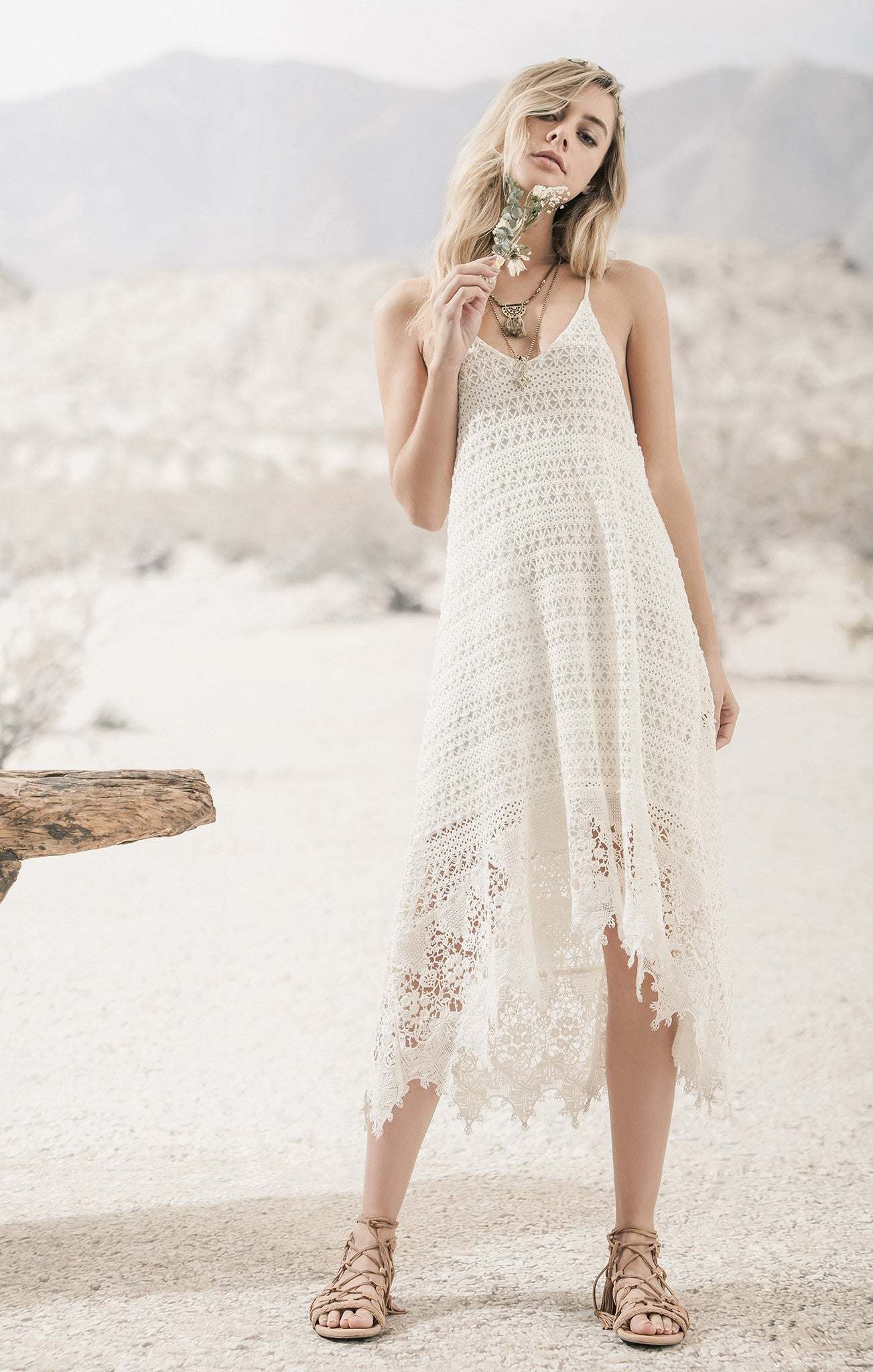 LACE DRESS WITH TRIM