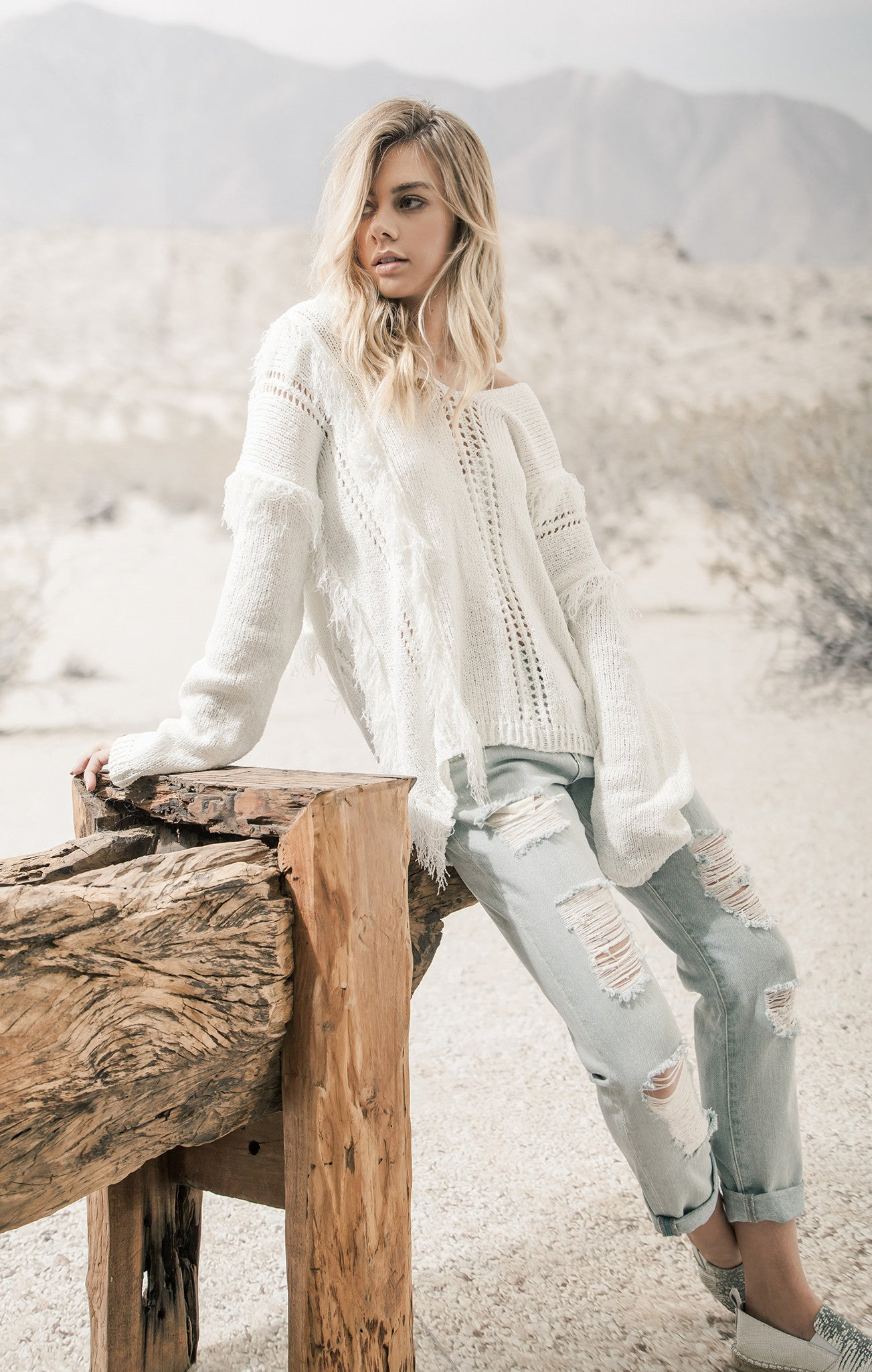 FRINGED SWEATER TOP WITH HOODIE