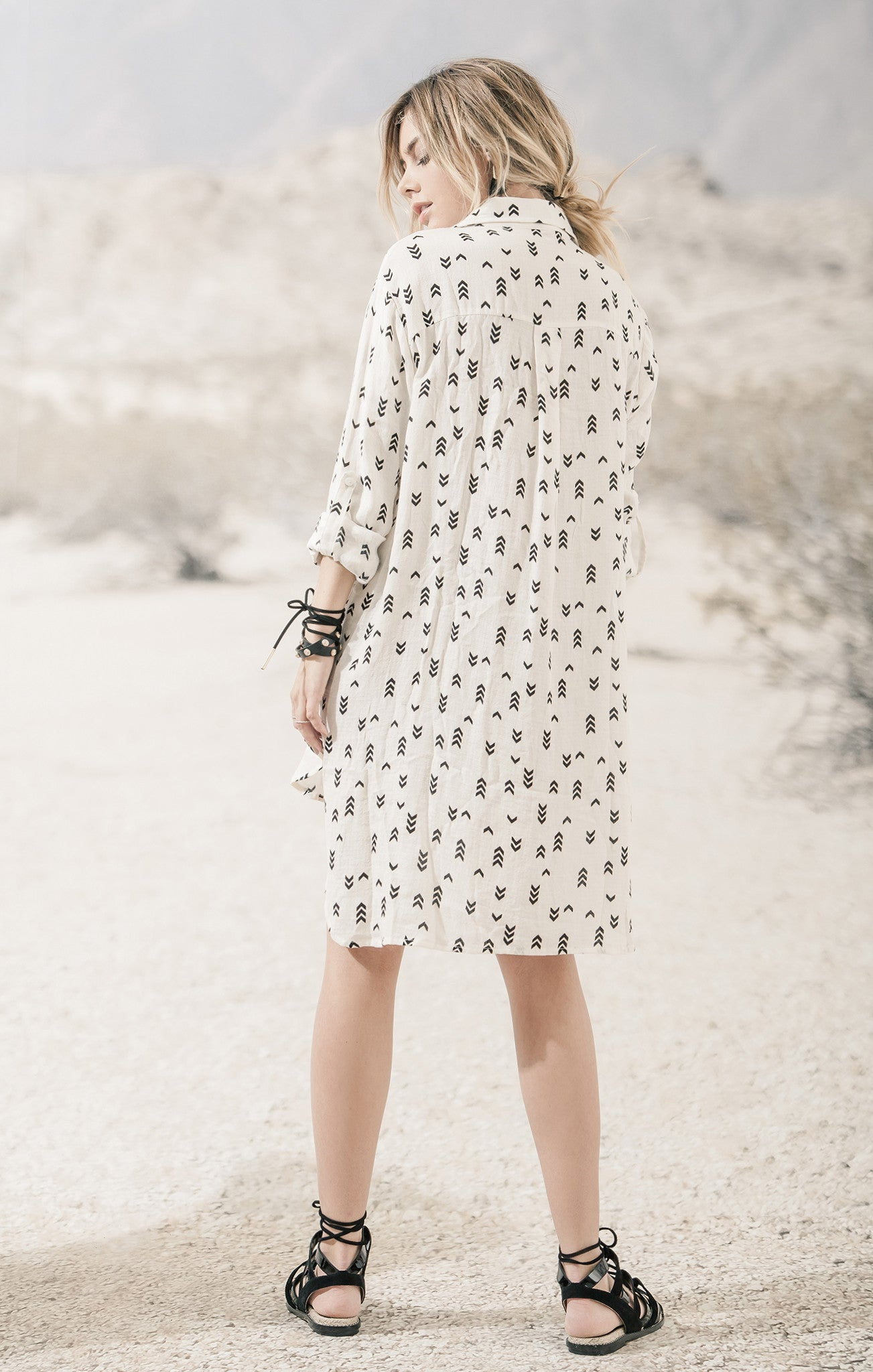 SHIRT DRESS WITH LACE UP DETAIL