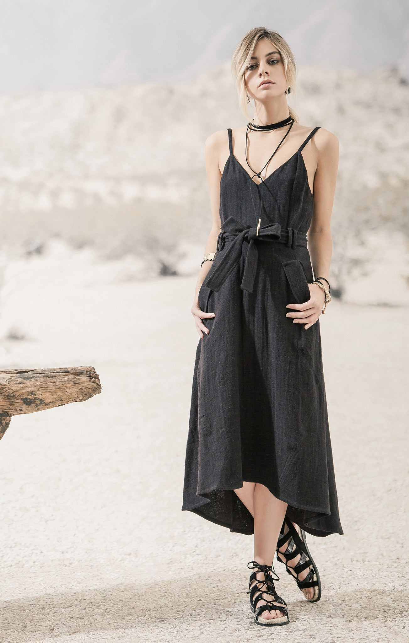 BLACK BELTED SOLID LINEN DRESS