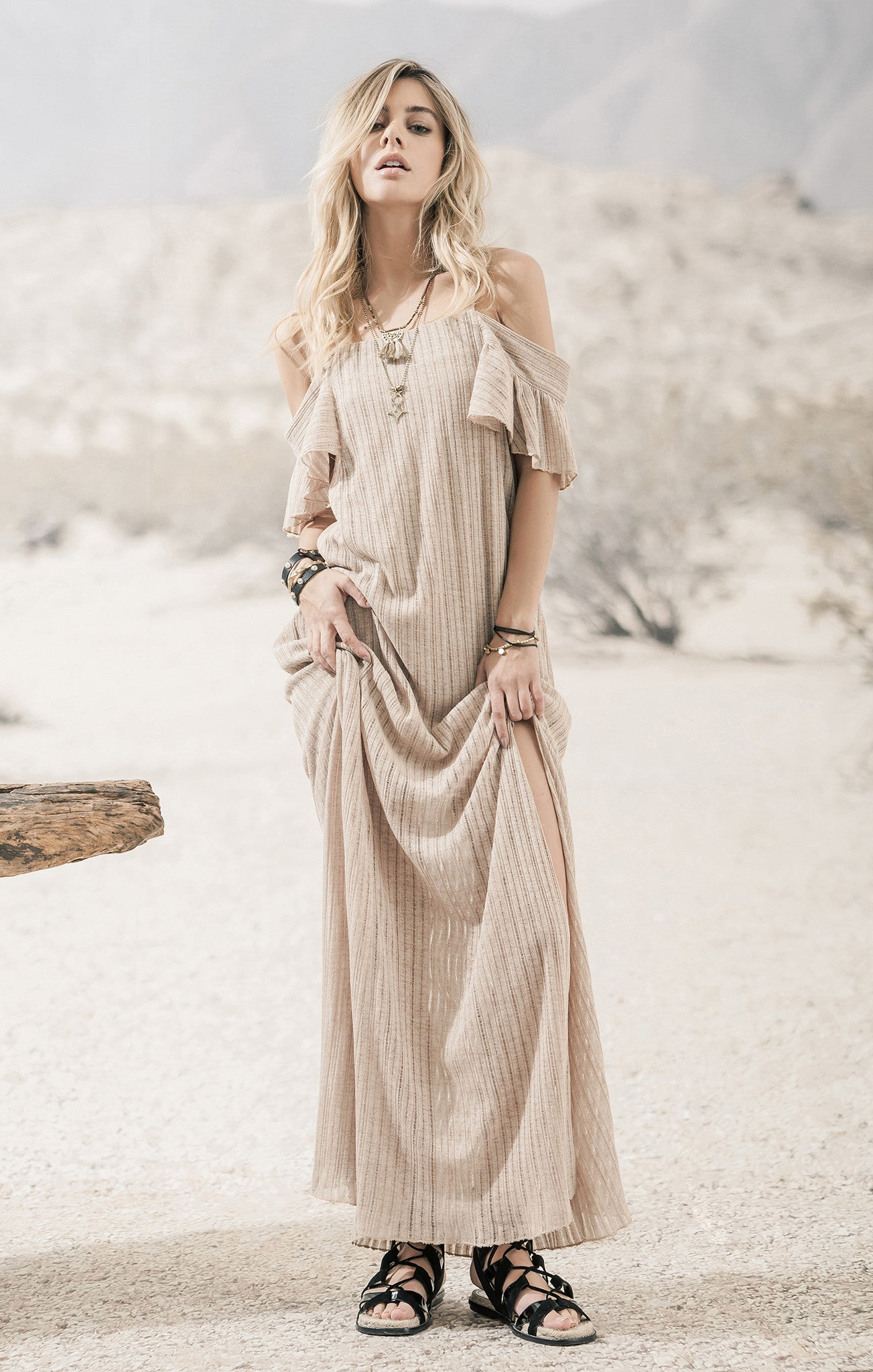 COLD SHOULER MAXI KNIT DRESS