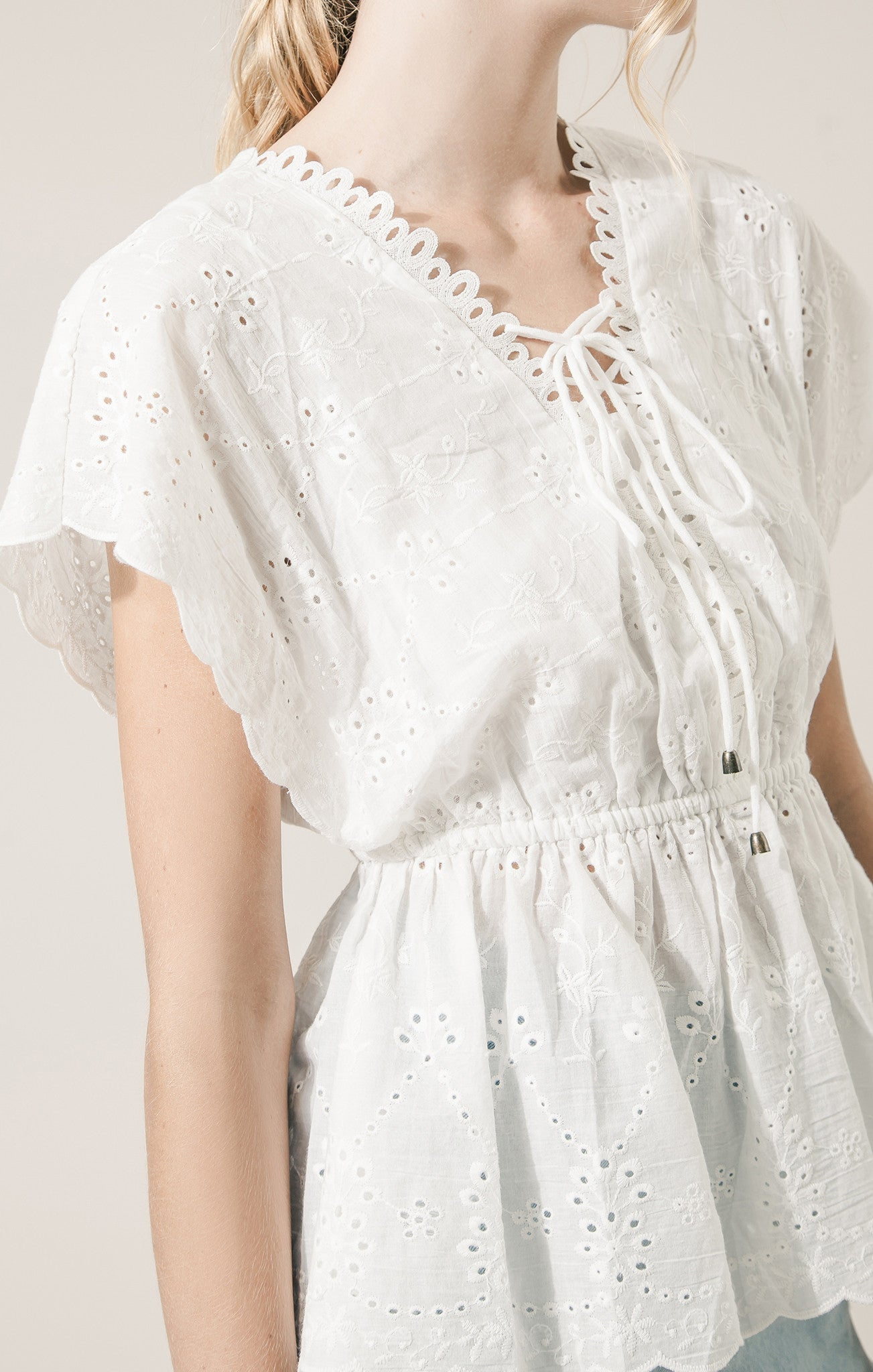 LACE UP DETAIL COTTON EYELET TOP