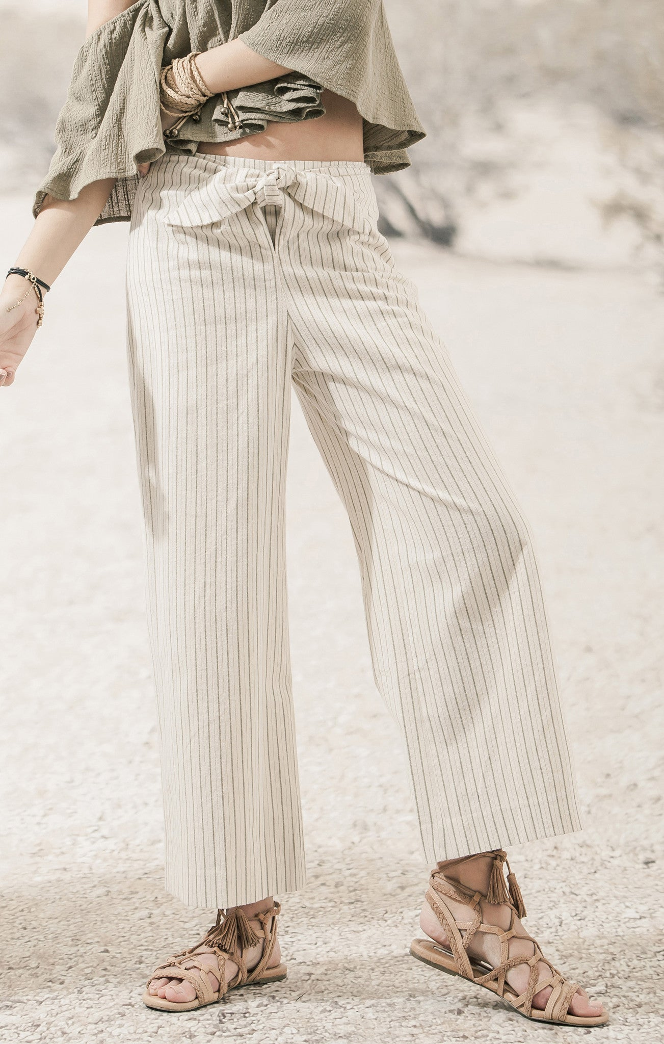 TIE FRONT WOVEN PANTS