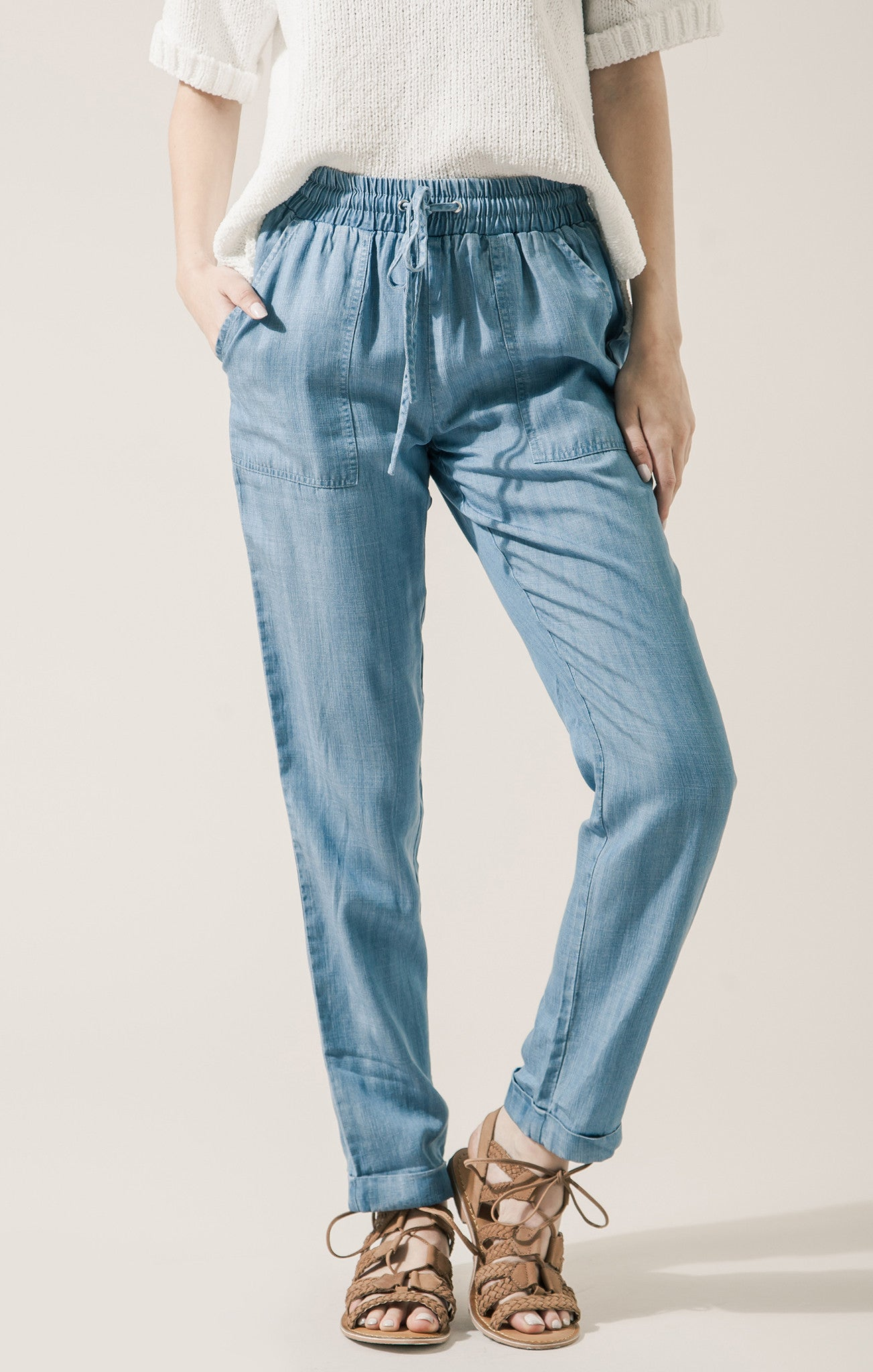 CHAMBRAY PANTS WITH ELASTIC WAIST