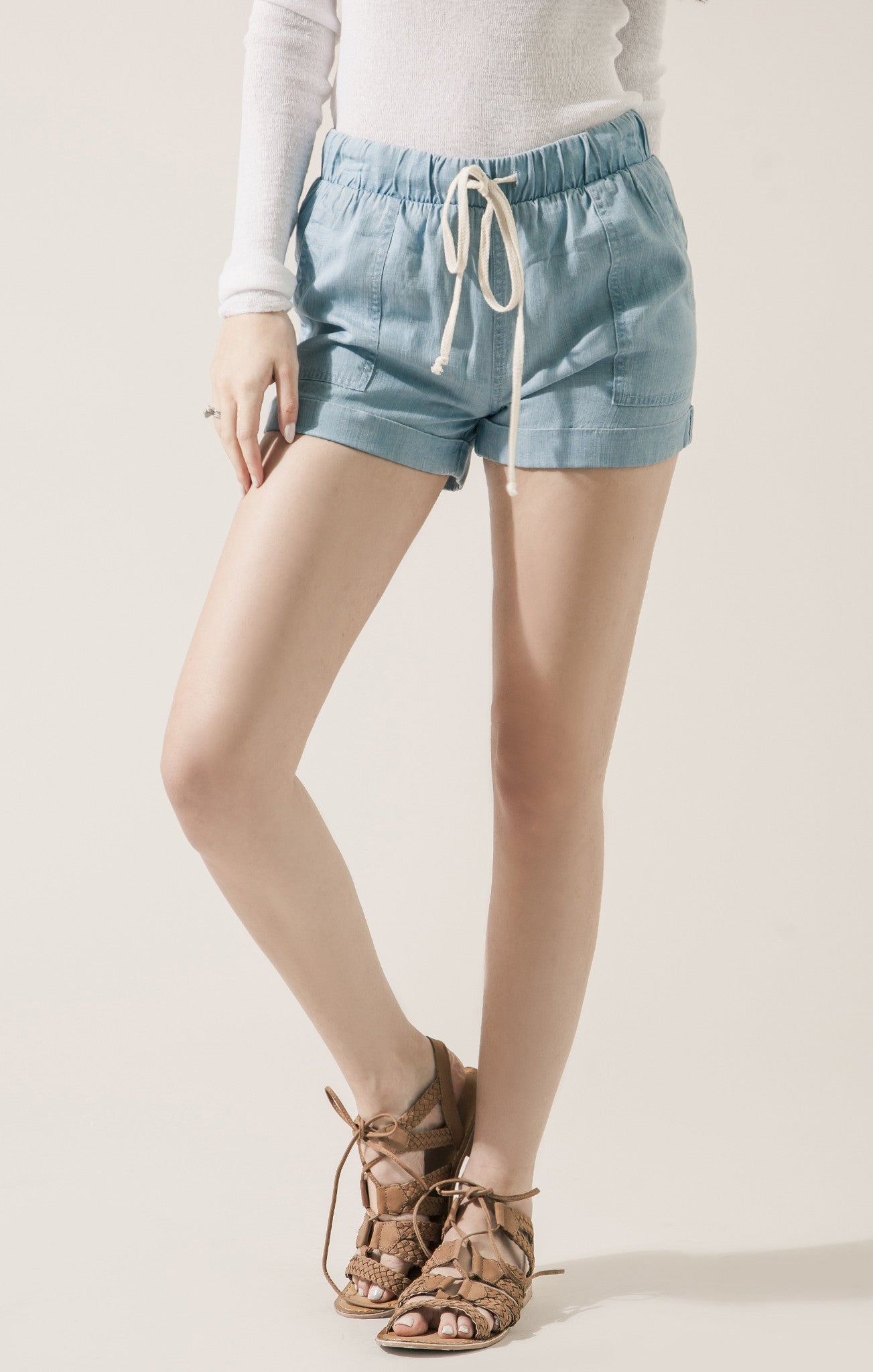 ELASTIC WAIST CHAMBRAY PANTS